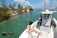 swiming on our custom boating charters in Key West